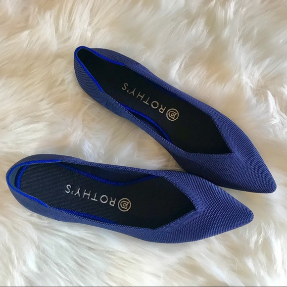 Rothys Cobalt Blue Solid Point Flats